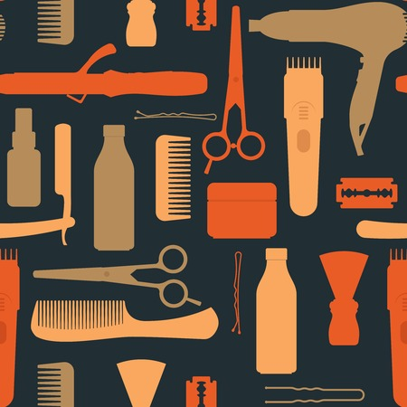 clipper: Hairdressing salon vintage seamless pattern with scissors hair dryer comb clipper blade on black background illustration
