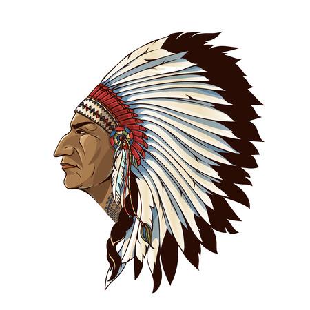 Simple américain indien de profil avec coiffure tribale de plumes sur fond blanc illustration isolé