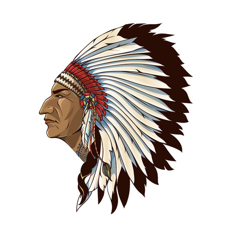 Single american indian in profile with tribal headdress of feathers on white background isolated illustration Ilustração