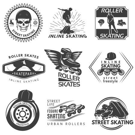 Roller skating black white labels with sportman helmet frame wheel cap skull rays wings isolated illustration
