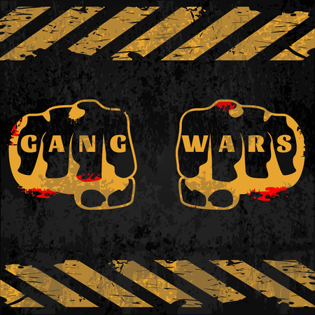 pandilleros: Street gang wars poster with fists in center crosswalks top and down on black background illustration