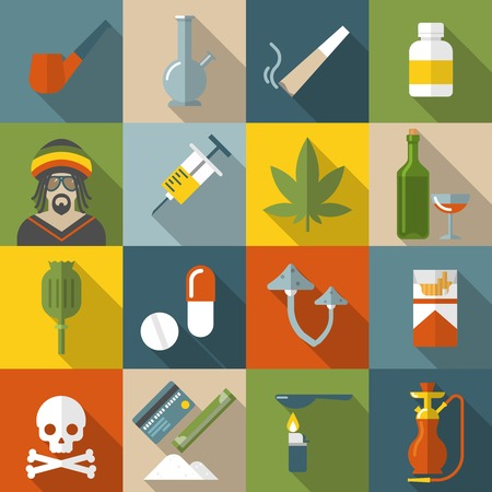 narcotics: Flat drugs icon set in colored square with types of narcotic drugs and damage to they generate illustration Illustration