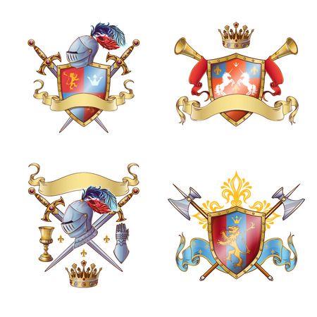 Knight colorful emblems with shields ribbons cross edged weapon armour flower crown animals isolated illustration Illustration
