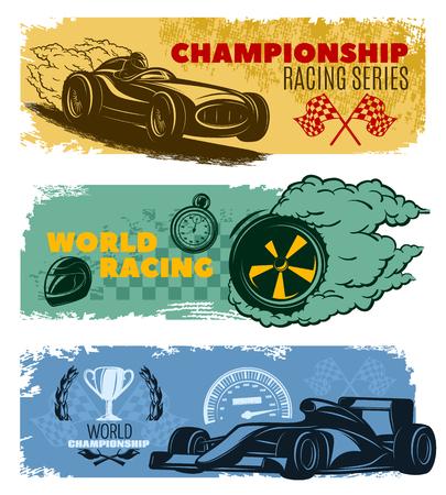 nitro: Three colored horizontal racing banner set with titles championship racing series world racing and world championship illustration
