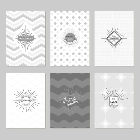 Sunburst posters set in grey tones with sunlight emblems on white and patterned backgrounds isolated illustration