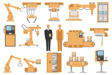 Iconos decorativos de montaje automatizado establecen con maquinaria de gestión de equipo operador ingeniero de fabricación de la ilustración proceso aislado