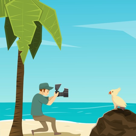 Flat cartoon image of male photographer taking photo of bird on tropical beach illustration
