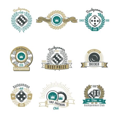 backgammon: Backgammon clubs retro style emblems with letterings laurel wreaths and rays chips and dice isolated illustration