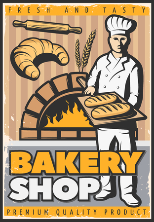 Colorful poster for bake shop in vintage style with baker character with trencher and bread illustration