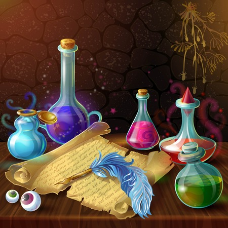 Magic bottles with recipe composition with potion jars plugs and human eyes on wooden table illustration Illustration