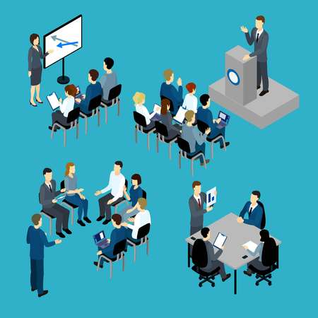 Business training isometric set with teachers and audience furniture and computers on blue background isolated illustration