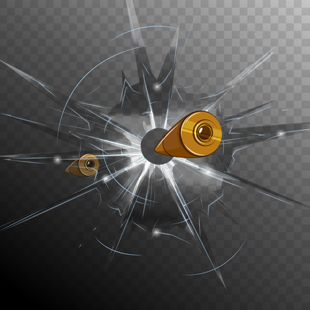 Cartoon bullet broken glass concept on transparent background in comics style illustration