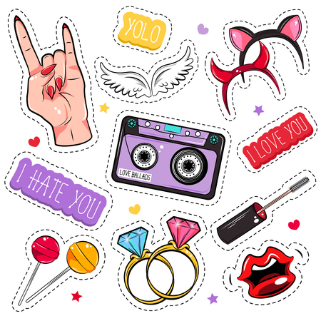 girlish: Colored and isolated comic girlish patches set for creating tattoo or stickers illustration