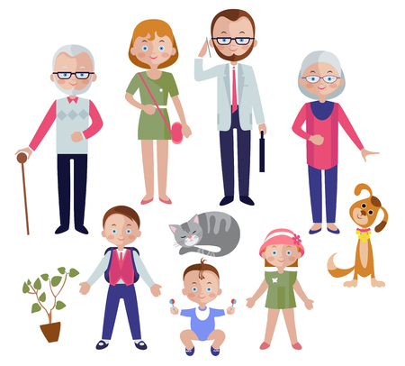 grandparent: Family flat style concept with mom and dad children and grandparent pets and houseplant isolated illustration