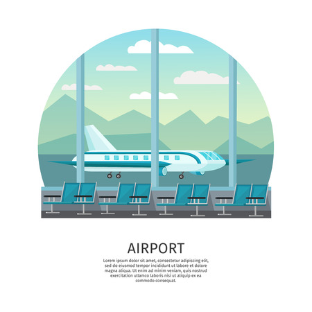 airfield: Airport interior orthogonal design with waiting hall and view from window at airfield illustration Illustration