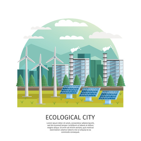arched: Orthogonal icon ecological city arched composition with turbine towers solar batteries house silhouettes and editable text illustration Illustration