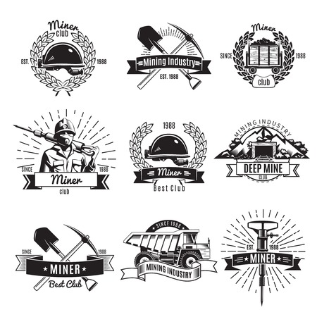 Mining industry vintage black white emblems with worker and equipment ribbons wreaths and rays isolated illustration