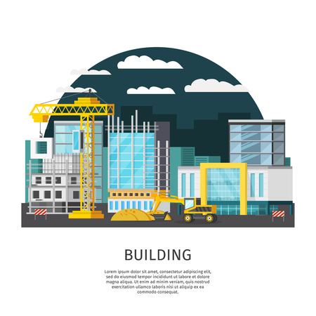 Construction at night orthogonal design with objects in scaffolding and building machines on urban background illustration Illustration