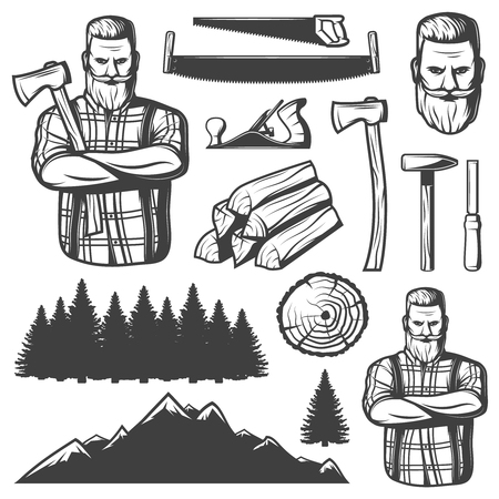 woodsman: Set of isolated vintage lumberjack emblem elements woodsman character tools trees and mountains landscape constructor images illustration