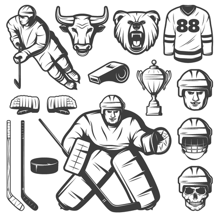 Set of isolated monochrome vintage hockey league emblem elements with player characters ammo mascots and cup illustration