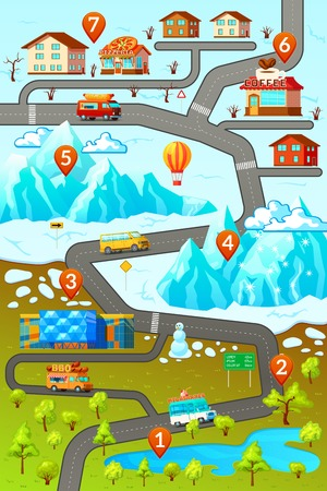inforgaphic: Inforgaphic poster with decorative map of mountainous town area with car roads buildings numbered location pins illustration