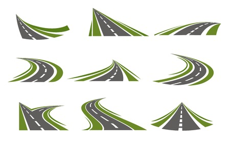 winds: Set with flat isolated curving road image with decorative stylization of roadway winds false mirror style illustration
