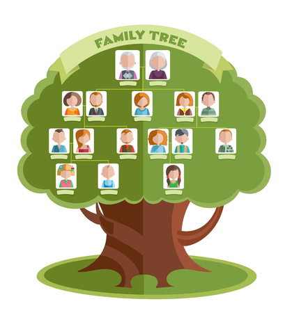 Family tree template with portraits of relatives and place for text on green background illustration