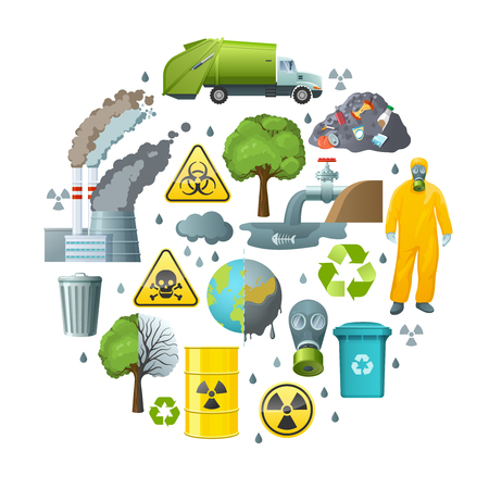 Round composition of isolated decorative elements with environmental pollution symbols infection radiation signs and biohazard suit vector illustration Illustration