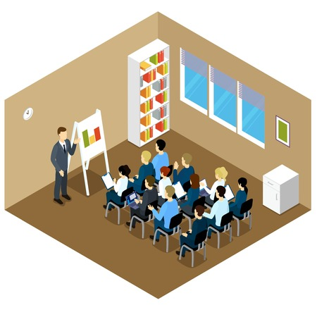 clerical: People isometric training composition with clerical characters in smart clothes upgrade qualifications in brown classroom interior vector illustration
