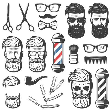 Set of isolated vintage barber hipster emblem elements with barbershop professional tools blades and male head vector illustration