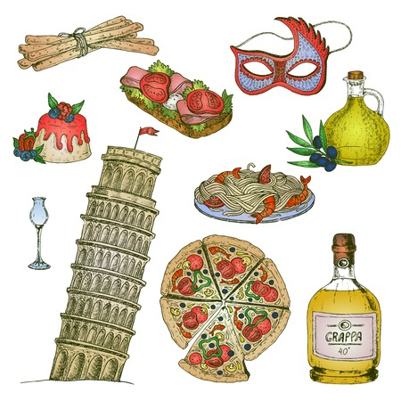 antic: Isolated hand drawn elements set with alcoholic drinks food carnival mask and leaning tower of piza vector illustration Illustration