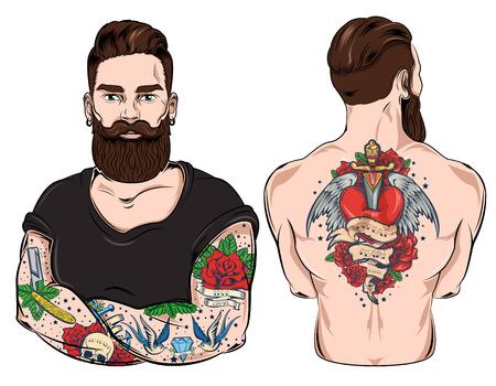 Tattooed Man Character Set Illustration