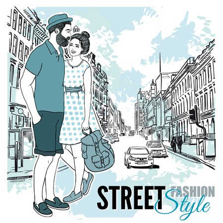 pareja comiendo: Couple Fashion City Street Poster