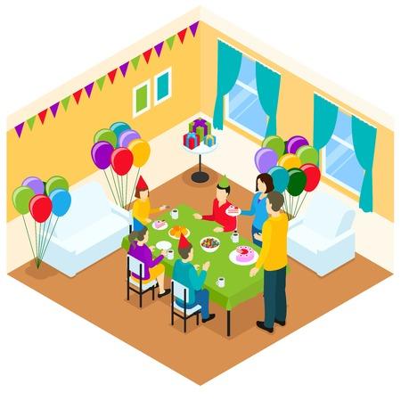 birthday celebration: Celebration Of Birthday Isometric Design Illustration