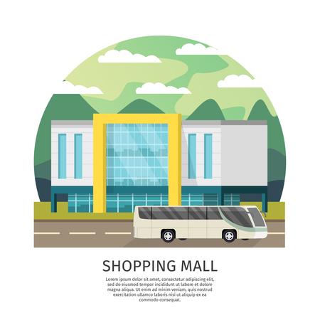 transportation facilities: Orthogonal Shopping Mall Round Design Illustration