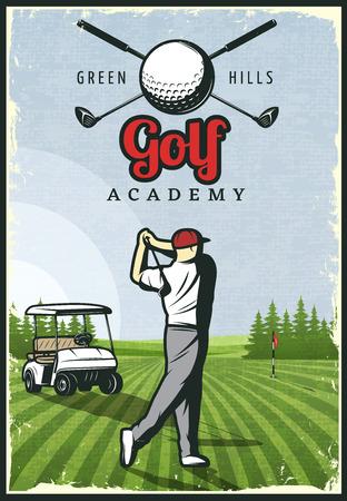 カラフルなレトロなゴルフ ポスター