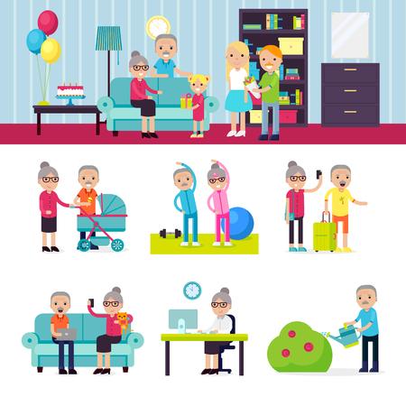 people: Senior People Collection Illustration