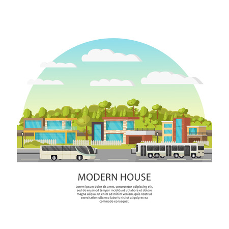 Suburban Houses Concept Illustration
