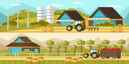 hay bale: Agricultural Horizontal Banners Illustration