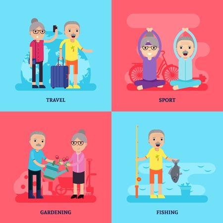 leisure activity: Leisure Activity Flat Concept Illustration