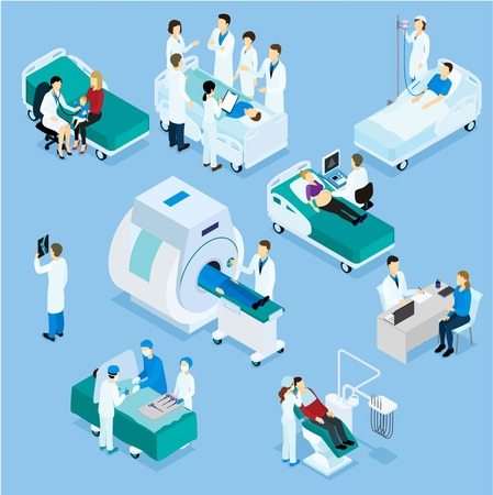 Doctor And Patient Isometric Set Vectores