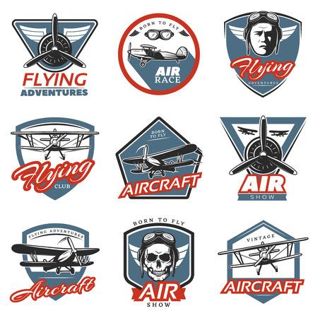 vintage: Vintage Colorful Aircraft Logos Illustration