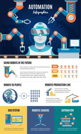 Industrial Automation Infographic Template Ilustração Vetorial
