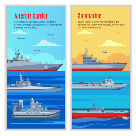 Military Ships Vertical Banners
