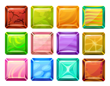 radial cracks: Cartoon Square Buttons Set Illustration