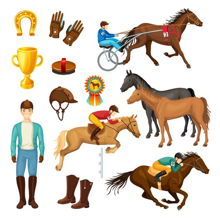 Equestrian Cartoon Elements Collection Illustration