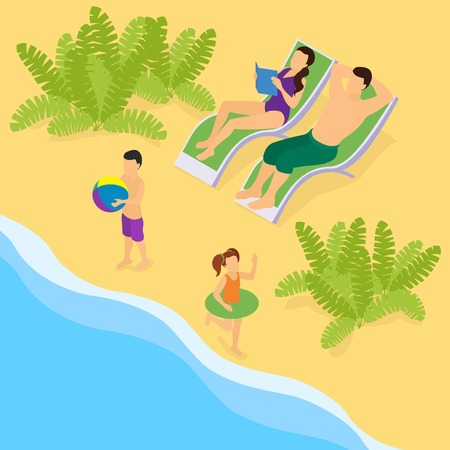 recliner: Isometric Family On Vacation Template