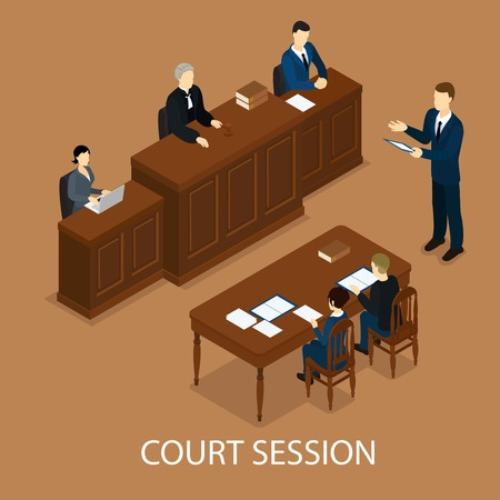 Isometric Judicial Session Concept Vector Illustration