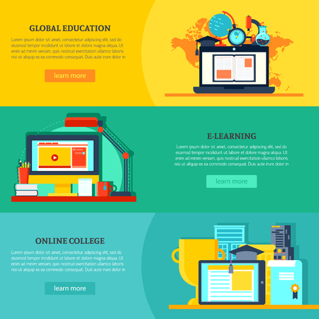 horizontal: Online Education Horizontal Banners Illustration