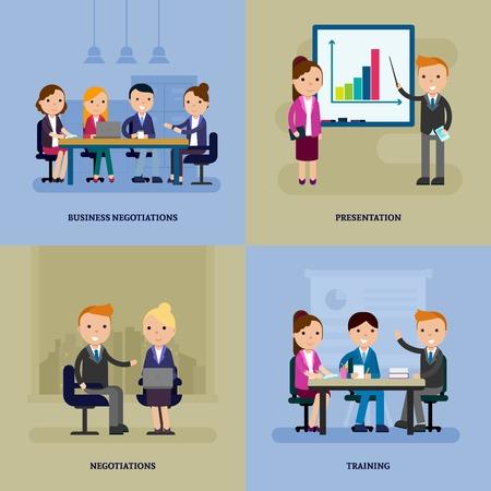 flat: Business Negotiation Flat Template Illustration